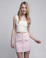 Missy Empire Astrid Baby Pink Zip Up Mini Skirt