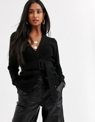 Ichi belted wrap cardigan-Black