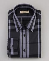 Burberry Check Dress Shirt, Gray