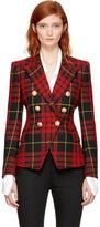 Balmain Red and Black Tartan Six-Button Blazer