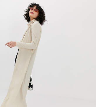 Another Reason 90s ribbed maxi cardigan with collar-Beige