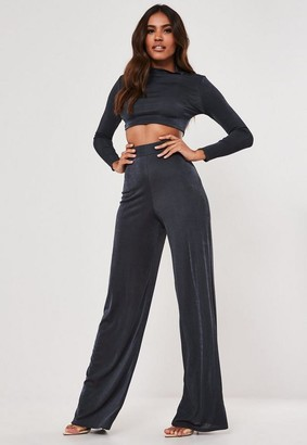 Missguided Tall Blue Co Ord Slinky High Neck Crop Top