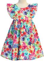 Kid's Dream Girls' Special Occasion Dresses Floral - Blue & Pink Watercolor Floral Flutter-Sleeve A-Line Dress - Toddler & Girls