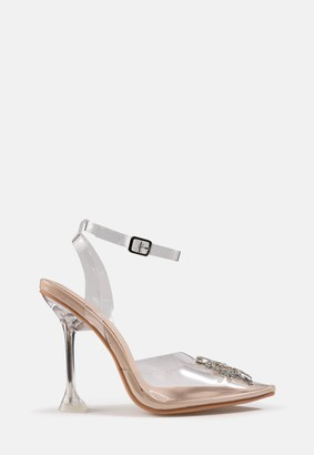 Missguided Nude Clear Pointed Toe Broach Front Heels
