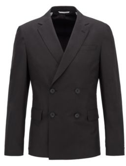 BOSS Slim-fit double-breasted jacket in cotton