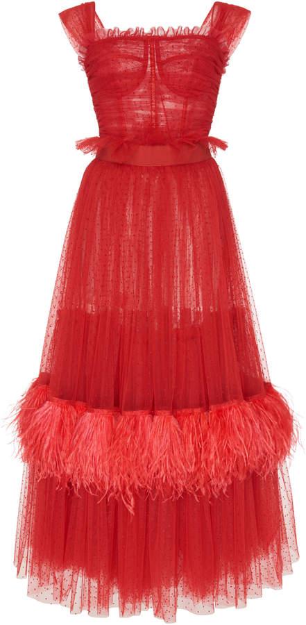 Dolce & Gabbana Feather-Embellished Tulle Midi Dress