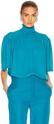 Balenciaga Short Sleeve Scarf Blouse in Petrol Blue | FWRD