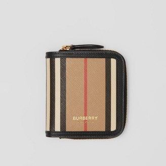 Burberry Icon Stripe E-canvas and Leather Folding Wallet