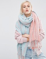 Asos Oversized Long Woven Scarf In Color Block Boucle