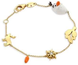 Roberto Coin Disney's Frozen 2 x 18K Yellow Gold & Diamond Charm Bracelet