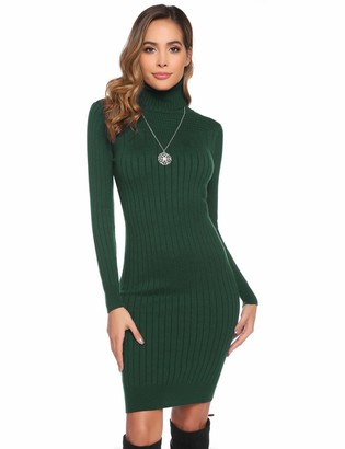 Abollria Womens Turtle Neck Long Sleeve Slim Fit Ribbed Knitted Jumper Knitwear Sweater Dress Navy Blue