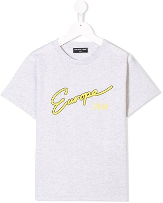 Balenciaga Kids Europe print T-shirt