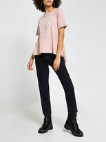 Thumbnail for your product : River Island Kindness Woven Tie Back Tee - Pink