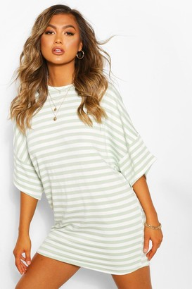 boohoo Striped Loopback Slouch Sweat Dress