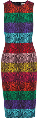 Alice + Olivia Delora Snake-print Color-block Stretch-jersey Dress