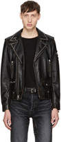 Saint Laurent Black Studded Leather Motorcycle Jacket