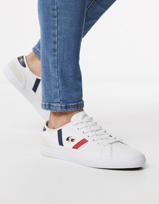 Lacoste sideline tri sneakers in white canvas