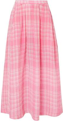 Rosie Assoulin Checked Crinkled-voile Midi Skirt