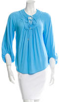 Diane von Furstenberg Pleat-Accented Long Sleeve Top
