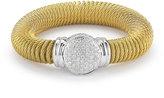 Alor Classique Cable Spring Coil Bracelet w/ Pave Diamond Station
