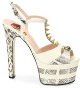 Gucci Angel Leather & Snakeskin Peep Toe Platform T-Strap Sandals