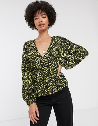 Only Mary long sleeve wrap blouse-Black