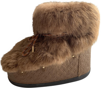 Louis Vuitton Brown Fur Boots