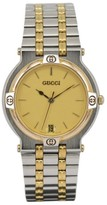 Gucci 9000M Stainless Steel & Gold Plated Black Dial Quartz 32mm Mens Watch