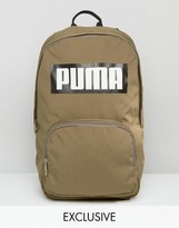 Puma Logo Backpack In Khaki Exclusive To Asos