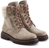 Moncler New Vivianne Leather Ankle Boots with Shearling