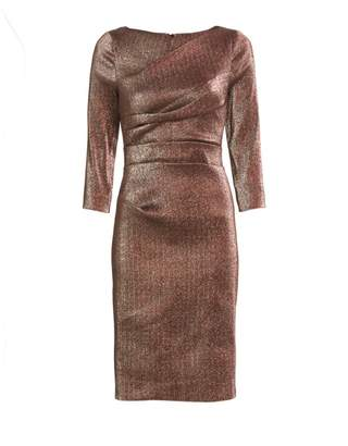 Teri Jon By Rickie Freeman Ruched Metallic Cocktail Dress