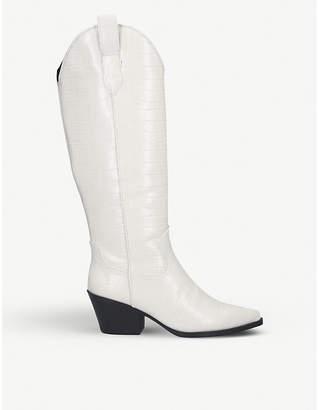 Kurt Geiger Wild croc-print knee-high boots