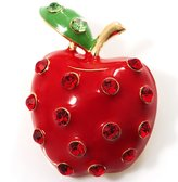 Avalaya Hot Red Rhinestone Enamel Apple Costume Brooch
