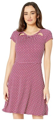 MICHAEL Michael Kors Bias Tile Dot Fit and Flare Dress (Deep Fuchsia/Garnet) Women's Clothing
