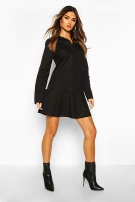 boohoo Cotton Ruffle Hem Shirt Dress