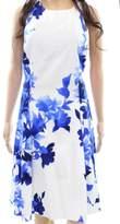 Lauren Ralph Lauren Blue White Floral Print Women 10 Sheath Dress