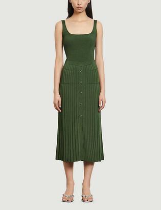 Sandro Meva pleated high-waisted stretch-woven midi skirt