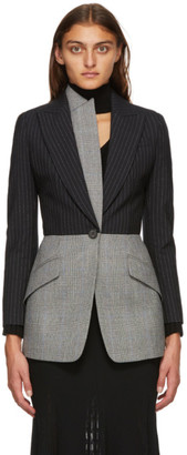 Alexander McQueen Black and Grey Pinstripe Blazer