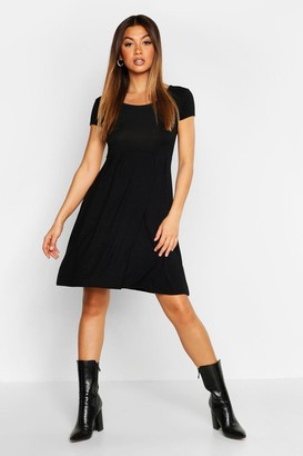 boohoo Jersey Cap Sleeve Skater Dress