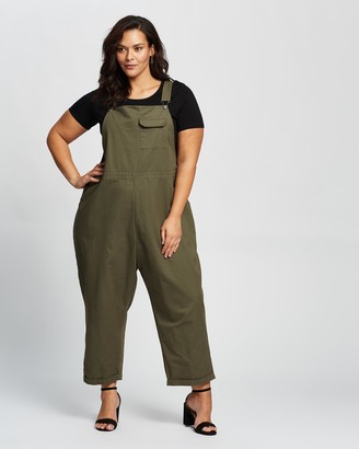 Atmos & Here Atmos&Here Curvy - Women's Green Jumpsuits - Bobbie Overalls - Size 18 at The Iconic