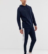 Asos Design DESIGN Tall tracksuit with hoodie and side stripe in navy