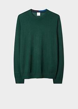 Men's Dark Green Merino Wool Sweater With Collar Details
