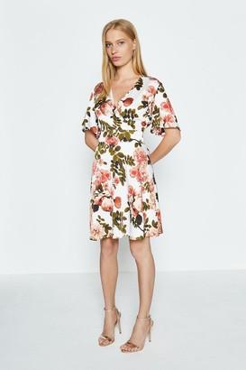 Coast Open Back Floral Wrap Short Dress