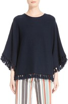 Chloé Women's Tassel Trim Cotton & Wool Poncho