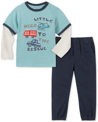 Kids Headquarters Little Boys 2-Pc. Little Hero Layered-Look T-Shirt & Twill Jogger Pants Set