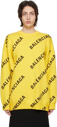 Balenciaga Yellow Allover Logo Sweater