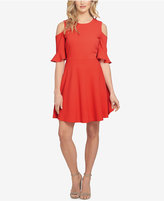 CeCe Ruffled Cold-Shoulder Fit & Flare Dress