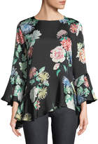 Neiman Marcus Floral Bell-Cuff Blouse