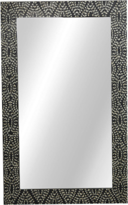 Ruby Star Perla Bone Inlay Mirror Classic Vine Black & White