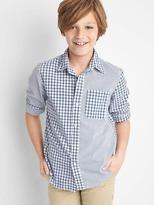 Gap Mix-plaid poplin convertible shirt